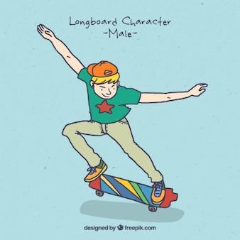 彼のスケートボードでクールな少年
