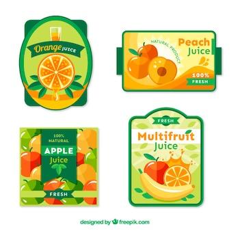 Пакет из четырех фруктов этикетки