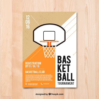フラットデザインのバスケットボールチラシ
