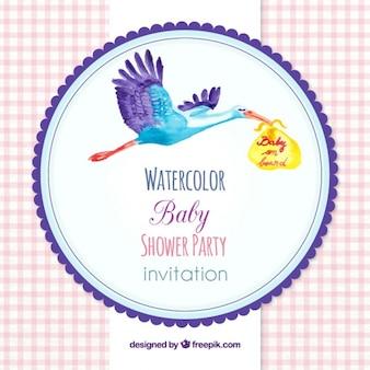ニースの水彩画コウノトリベビーシャワーの招待状
