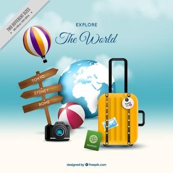 夏の休日のための荷物と旅行の背景