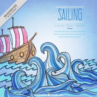 Рука ничья лодки в фоновом режиме океана