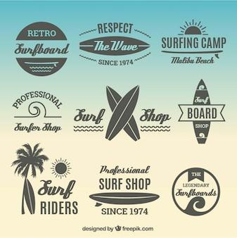 Коллекция плоской этикетки для серфинга