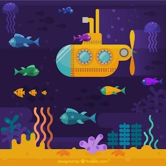 Желтый фон подводная лодка