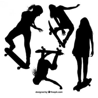 スケーターの女の子のシルエット