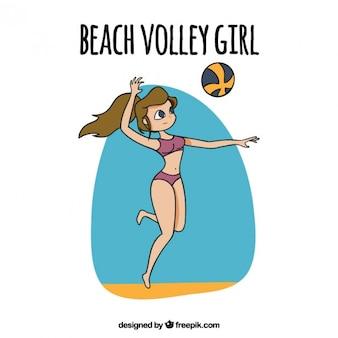 Рисованной девушки играют в волейбол