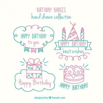 かわいい手描きの誕生日バッジパック