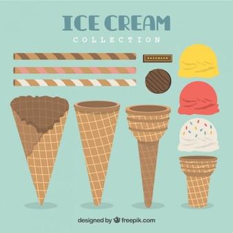 フラットデザインのアイスクリームとウエハ