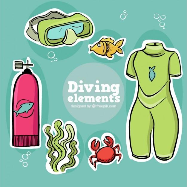 Зарисовки водолазное снаряжение для подводного