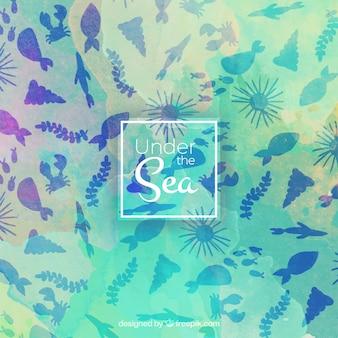 海洋生物の背景を持つかわいい水彩画