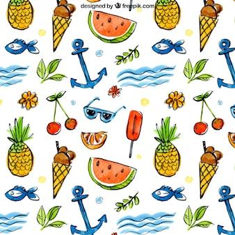 Летние элементы и фрукты шаблон