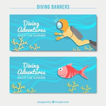 Аквалангист и рыбы дайвинг баннеры