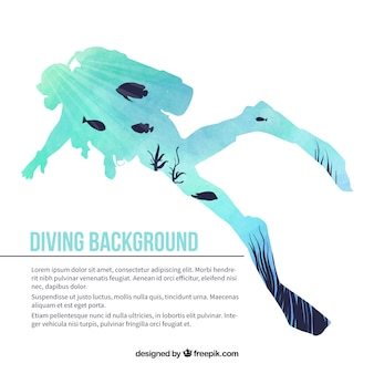 水彩画のスキューバダイバーのシルエットの背景