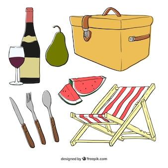 Зарисовки корзина для пикника с элементами