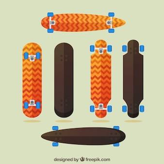 フラットデザインのスケートボードのパック