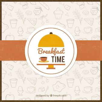 朝食の背景のスケッチ食品