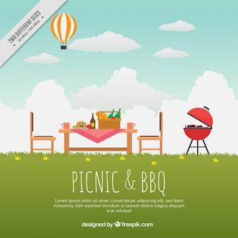 Красивый пейзаж с вкусным барбекю и пикников фона