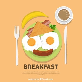朝食用食品で構成された楽しい顔