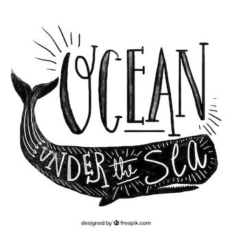 クジラとヴィンテージ水彩画の背景