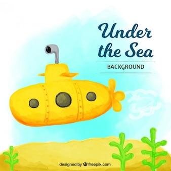 黄色の潜水艦と水彩画の背景