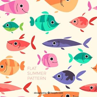 Плоский цветной рисунок рыбы