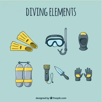 Эскизы элементов подводного плавания