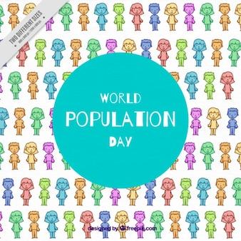 人口日の人々と着色背景