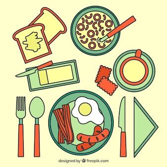 テーブルの上に朝食