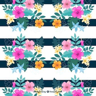 ストライプ水彩花の背景