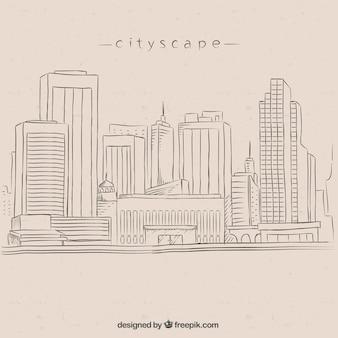 高層ビルと手描きの都市の背景