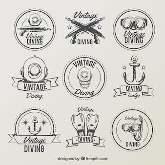 ダイビングヴィンテージラベルを描かれた手のコレクション