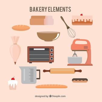 Симпатичные элементы пекарня в плоской конструкции