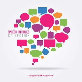 カラフルなスピーチが設定気泡