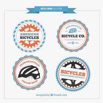 Симпатичные цветные округлые значки велосипед