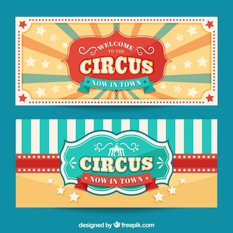 Симпатичные старинные цирковые баннеры