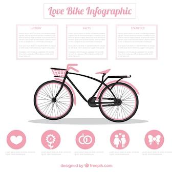 Велосипед инфографики в розовый цвет