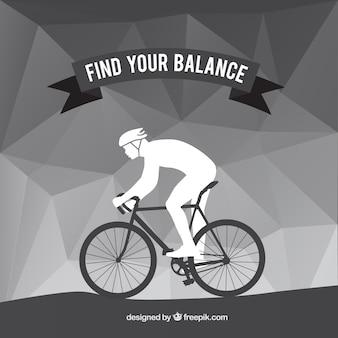サイクリストと多角形の灰色の背景