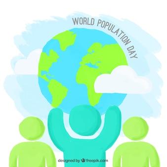 人口一日の手描きの背景