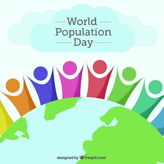 人口の日の背景世界と抽象的な人々