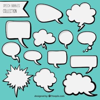 手のパックには、白い漫画スピーチの泡を描か