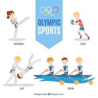 Спортивные люди делают олимпийским видам спорта