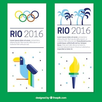 フラットなデザインの近代オリンピックのバナー