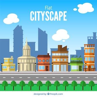 Городской пейзаж в плоский дизайн фона с дорогой