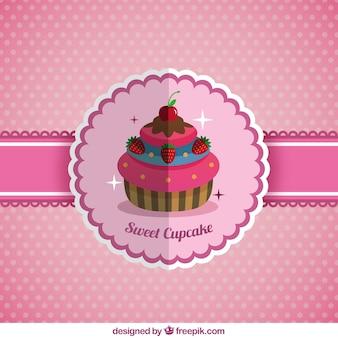 フラットなデザインで美味しいカップケーキの背景