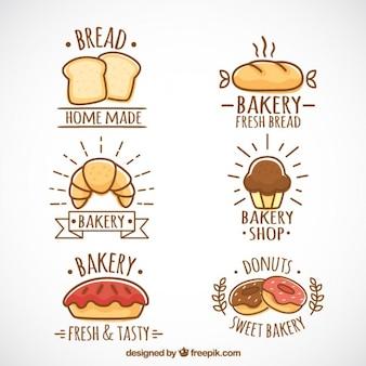 Ручной обращается логотипы хлебобулочные