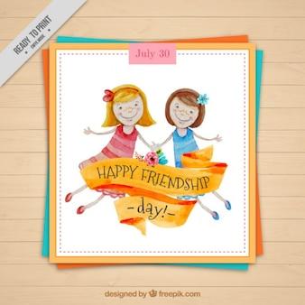 二人の女の子の友人のカード