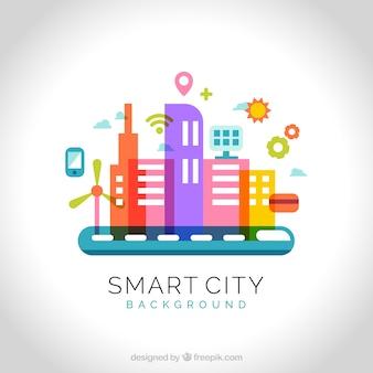 フラットカラフルなテクノロジー系都市の背景