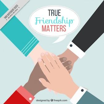 手の背景と友情の日