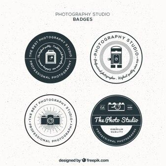 Урожай круговой фотографии студии значки