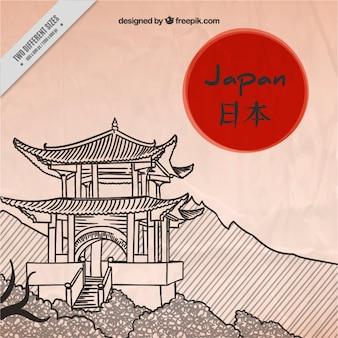 日本の仏塔の背景